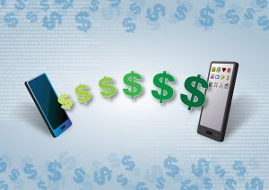 Money transfer in Smartphone, Telephone, Cellular, Mobile Data Transfer Fast Over-the-Air Technology